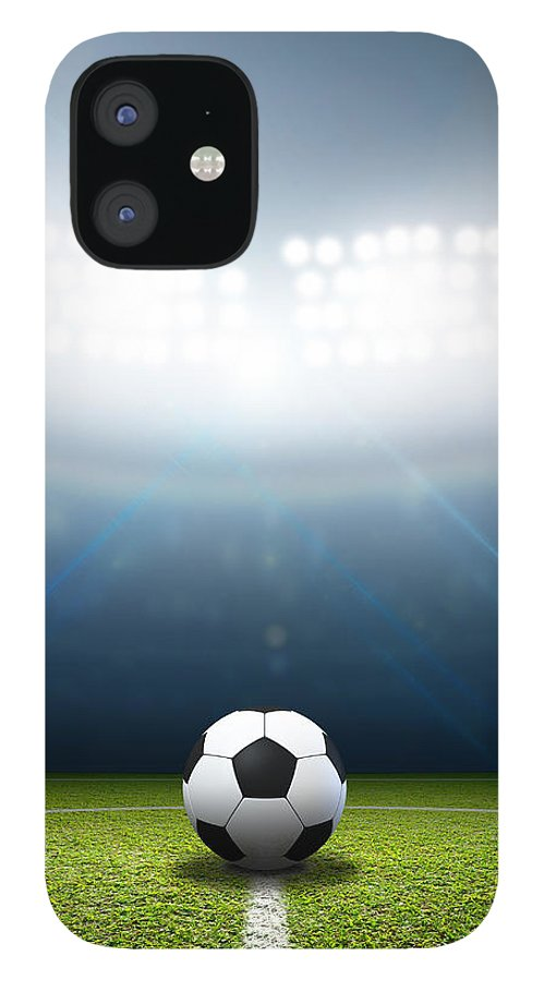 Soccer Ball IPhone 12 Case featuring the digital art Stadium And Soccer Ball by Allan Swart
