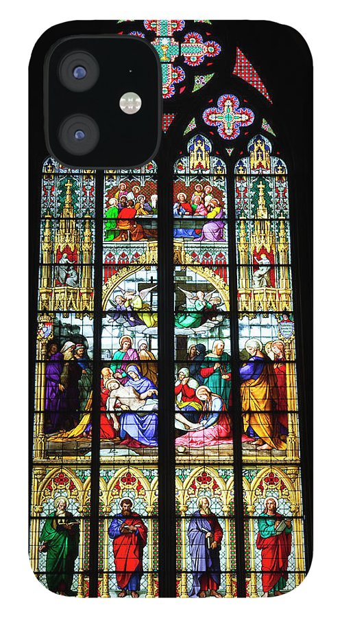 Gothic Style IPhone 12 Case featuring the photograph Stained Glass Window In Cologne by Julian Elliott Photography