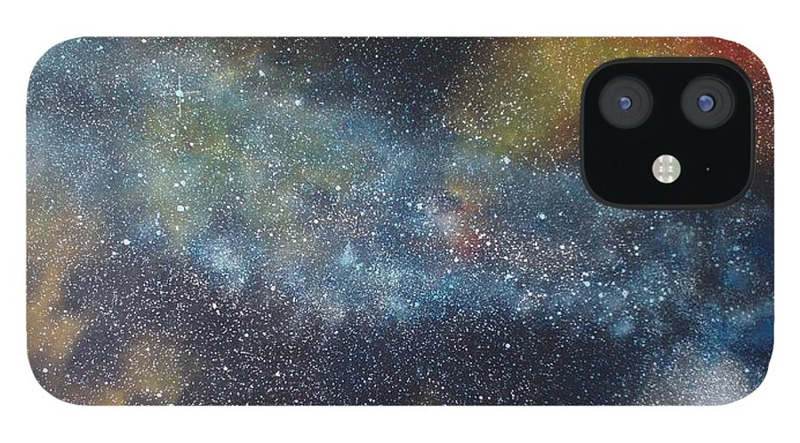 Oil Painting On Canvas IPhone 12 Case featuring the painting Stargasm by Sean Connolly