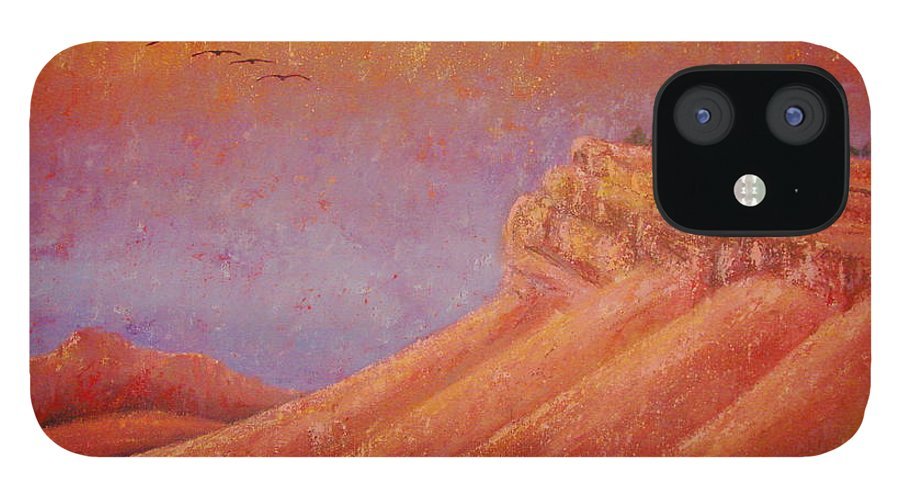Steamboat Mountain IPhone 12 Case featuring the painting Steamboat Mountain at Sunrise by Margaret Bobb
