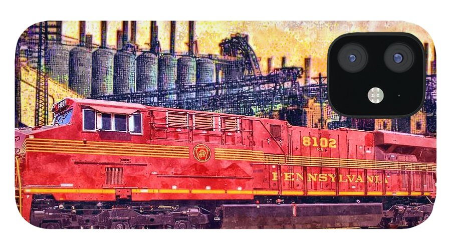 Art IPhone 12 Case featuring the painting Steel Rails by Charles Ott