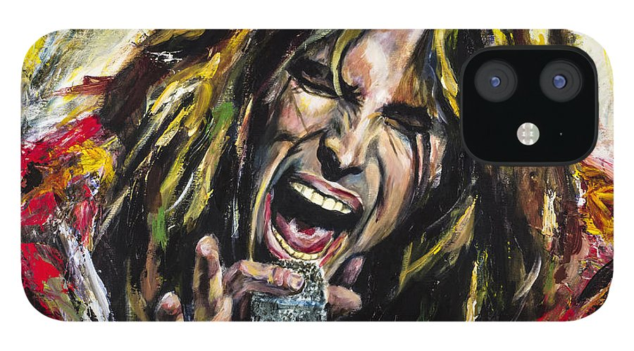 Steven Tyler IPhone 12 Case featuring the painting Steven Tyler by Mark Courage