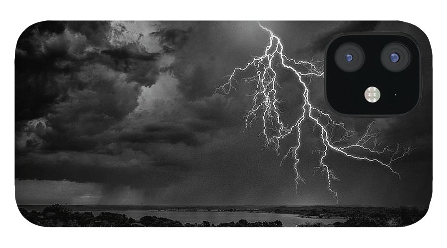 Outdoors IPhone 12 Case featuring the photograph Storm Over Benbrook Lake by Dean Fikar