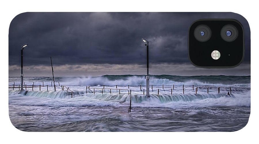 Panoramic IPhone 12 Case featuring the photograph Stormy Ocean, Monavale Beach, Australia by Bert