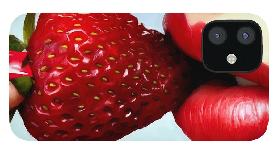 Lips IPhone 12 Case featuring the digital art Strawberry and Lips by Gabriel T Toro