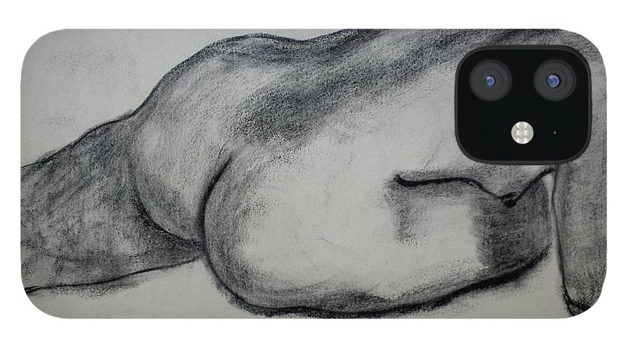 Nude iPhone 12 Case featuring the drawing Strength by Kendall Kessler