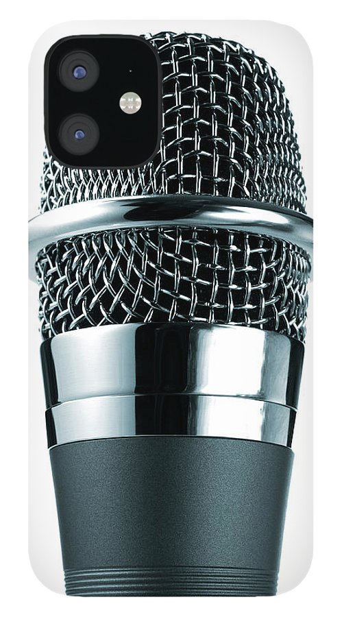 White Background iPhone 12 Case featuring the photograph Studio Shot Of Microphone On White by David Arky