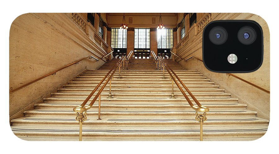 Steps IPhone 12 Case featuring the photograph Subway Station Staircase,chicago by Lisa-blue