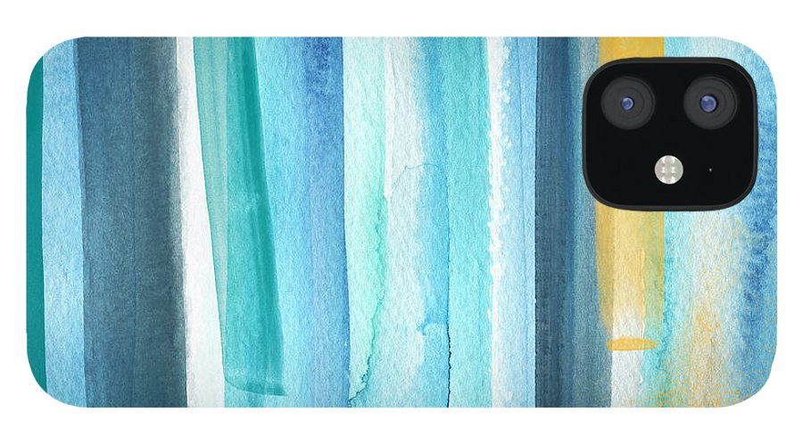 Water IPhone 12 Case featuring the painting Summer Surf- Abstract Painting by Linda Woods