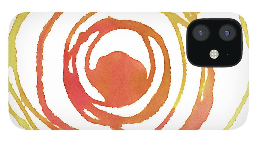 Watercolor Painting IPhone 12 Case featuring the digital art Sun Circle Abstract Water Color Paint by 4khz