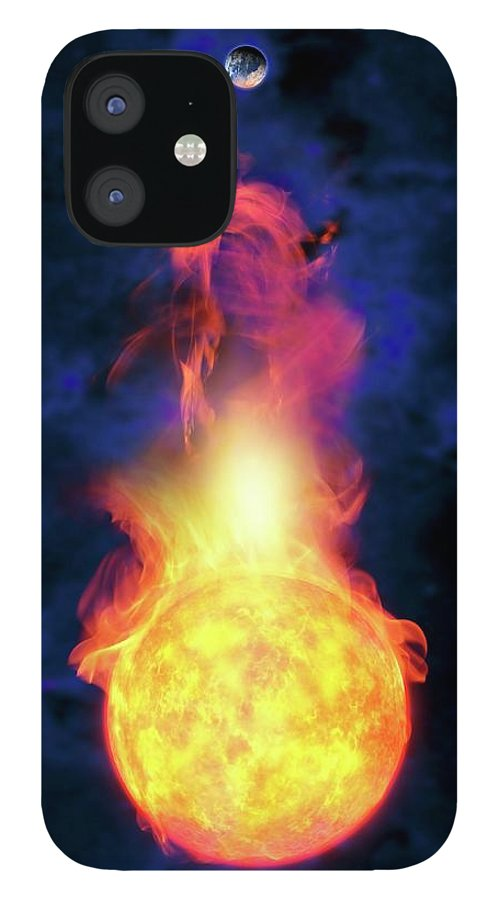 Solar System IPhone 12 Case featuring the digital art Sun Engulfing The Earth, Artwork by Victor Habbick Visions