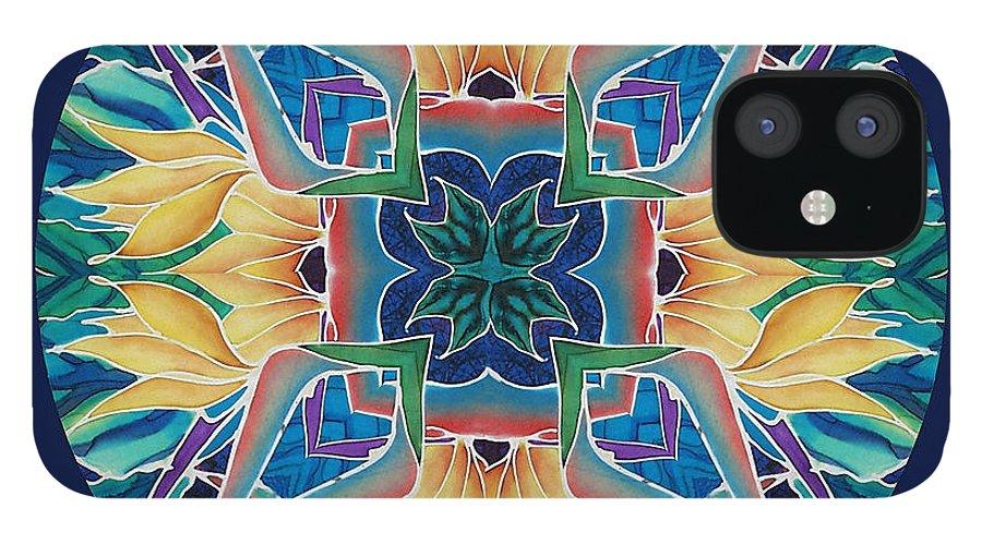 Mandala IPhone 12 Case featuring the painting Sunflower Mandala by Francine Dufour Jones