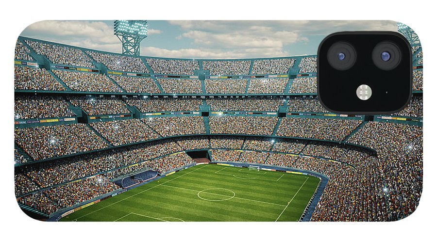 Event IPhone 12 Case featuring the photograph Sunny Soccer Stadium Panorama by Dmytro Aksonov