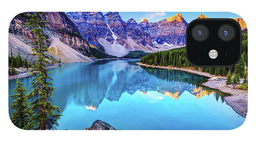 Tranquility IPhone 12 Case featuring the photograph Sunrise At Moraine Lake by Wan Ru Chen