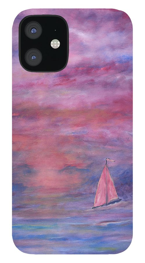 Saling IPhone 12 Case featuring the painting Sunset Adventure by Ben Kiger