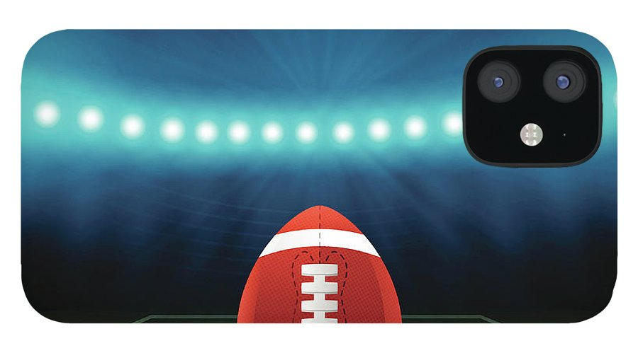 Sports Helmet IPhone 12 Case featuring the digital art Superbowl Football Field Background by Filo