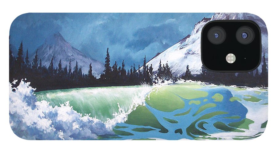 Wave IPhone 12 Case featuring the painting Surf and Snow by Philip Fleischer