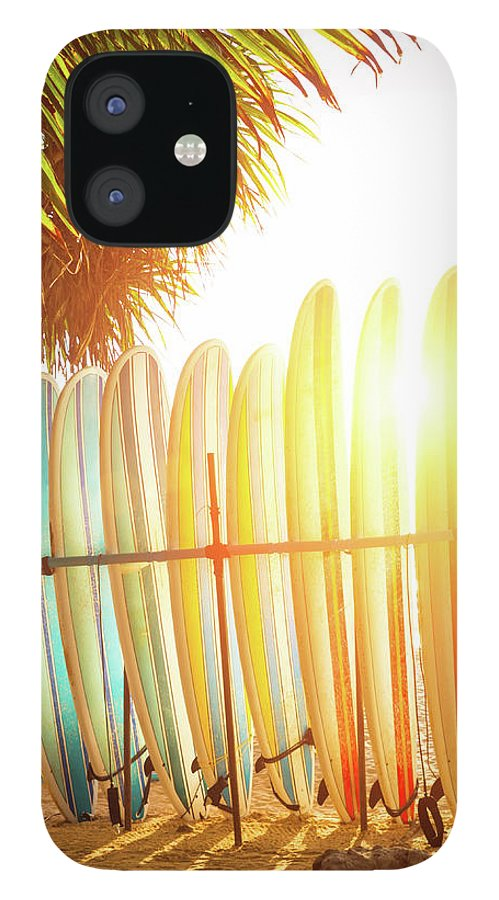 Recreational Pursuit IPhone 12 Case featuring the photograph Surfboards At Ocean Beach by Arand