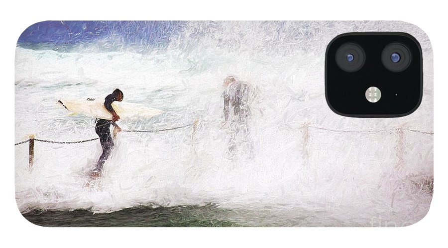 Surf IPhone 12 Case featuring the photograph Surfers at rockpool by Sheila Smart Fine Art Photography