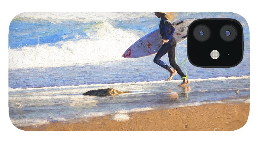 Surfer IPhone 12 Case featuring the photograph Surfing girl by Sheila Smart Fine Art Photography