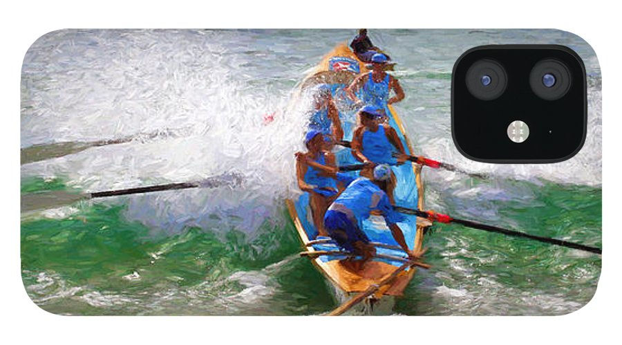 Surfer IPhone 12 Case featuring the photograph Surfing lifesaving boat by Sheila Smart Fine Art Photography