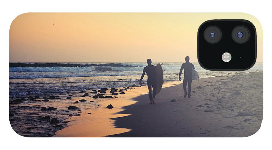 Water's Edge IPhone 12 Case featuring the photograph Surfing Rincon Point Surfers Beach by Amparo E. Rios