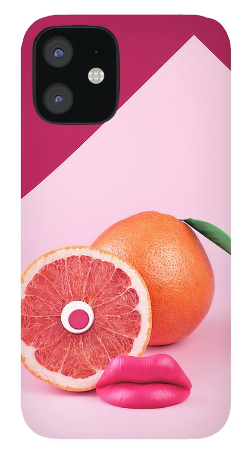 Breakfast IPhone 12 Case featuring the photograph Surreal Pink Grapefruit With Eye And by Juj Winn