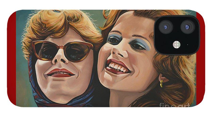 Susan Sarandon IPhone 12 Case featuring the painting Susan Sarandon and Geena Davies alias Thelma and Louise by Paul Meijering