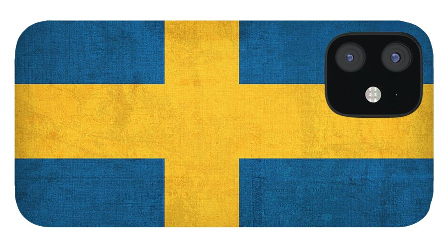 Sweden Flag Vintage Distressed Finish IPhone 12 Case featuring the mixed media Sweden Flag Vintage Distressed Finish by Design Turnpike