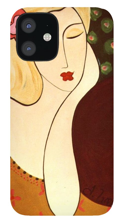 #female #figurative #floral IPhone 12 Case featuring the painting Sweet Sixteen by Jacquelinemari