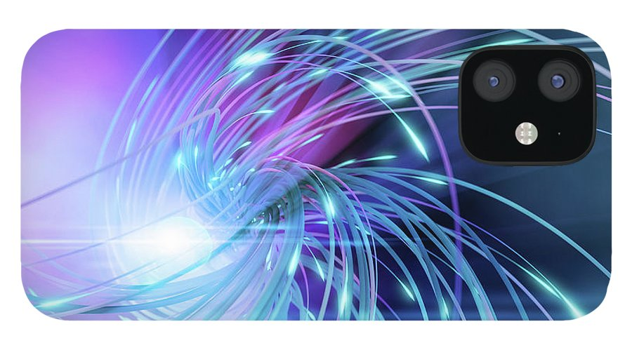 Curve IPhone 12 Case featuring the digital art Swirl Of Lines With Glowing Ends by Maciej Frolow