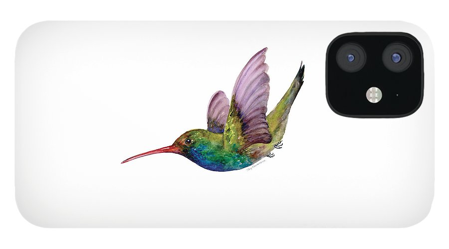 Bird IPhone 12 Case featuring the painting Swooping Broad Billed Hummingbird by Amy Kirkpatrick