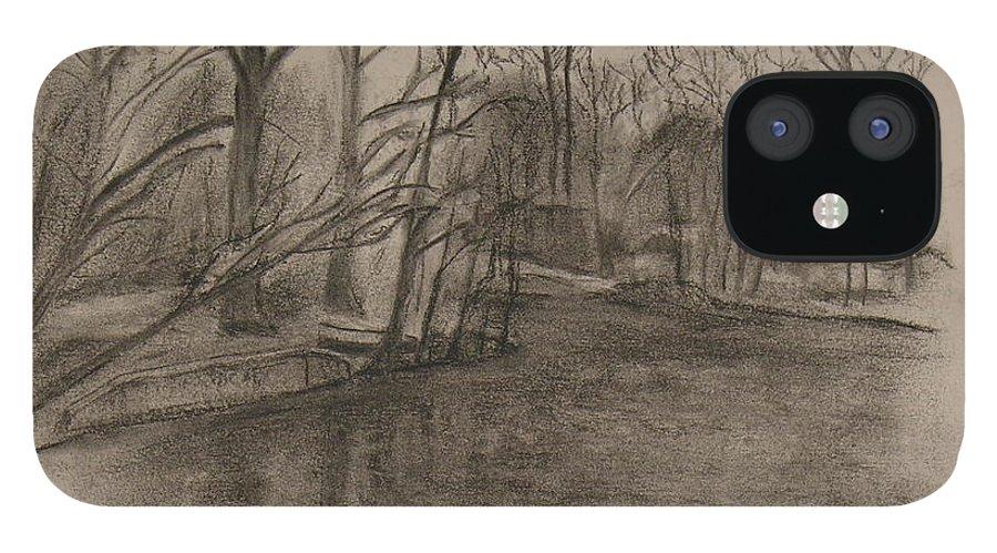 Sylvan Lake IPhone 12 Case featuring the painting Sylvan Lake Plein Aire by Sheila Mashaw