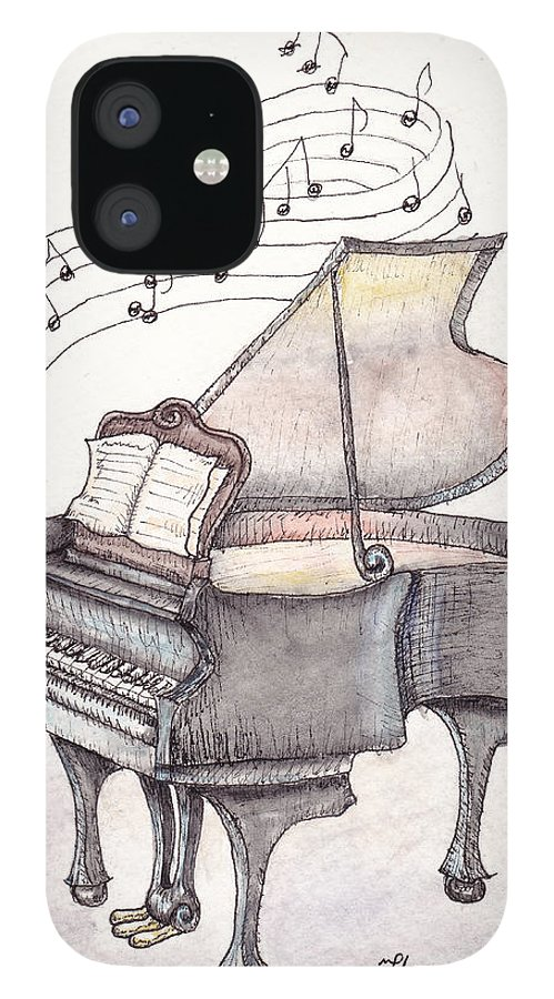 Piano IPhone 12 Case featuring the painting Symphony by Theresa Stinnett