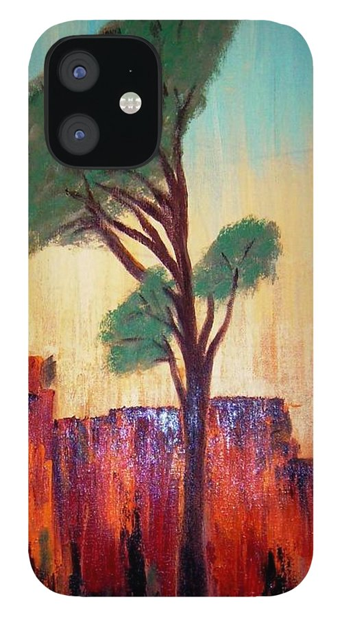 Landscape IPhone 12 Case featuring the painting T And M by Joseph Ferguson