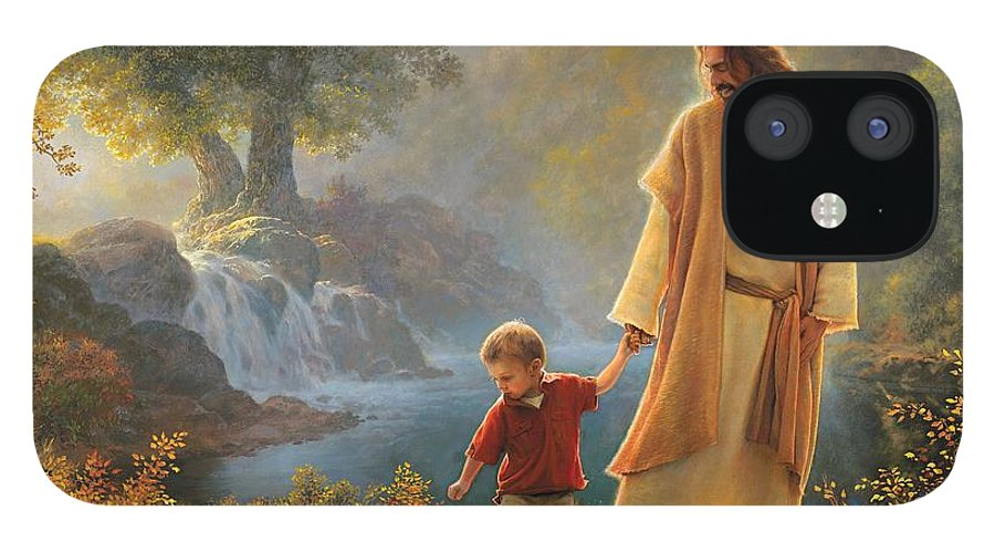 Jesus IPhone 12 Case featuring the painting Take My Hand by Greg Olsen