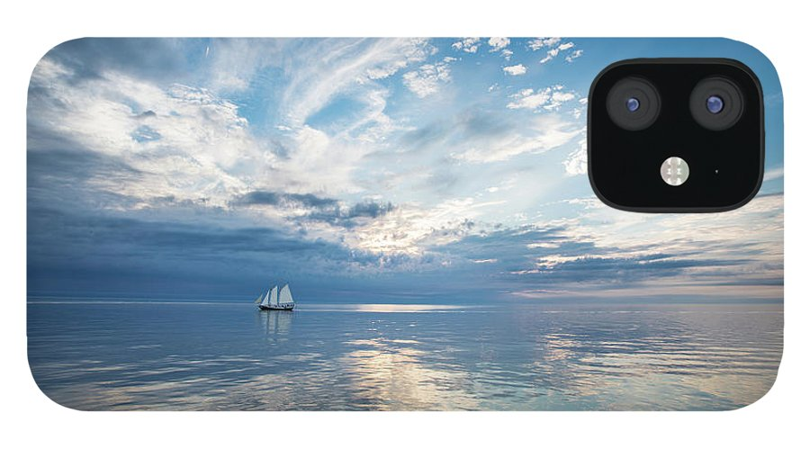 Tranquility IPhone 12 Case featuring the photograph Tall Ship On The Big Lake by Rudy Malmquist