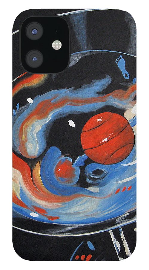 Tar Heel IPhone 12 Case featuring the painting Tar Heel Martini 2011 by Torrie Smiley
