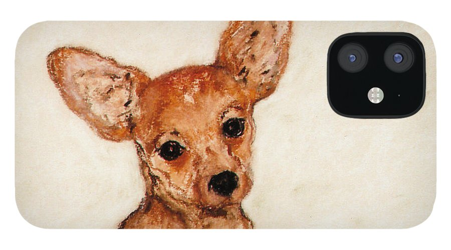 Chihuahua IPhone 12 Case featuring the drawing Tavi by Cori Solomon