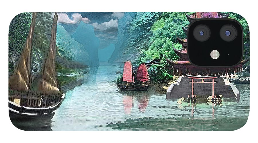 Landscape IPhone 12 Case featuring the digital art Temple on the Yangzte by Steve Karol