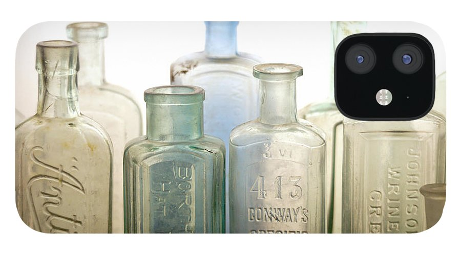 Bottle IPhone 12 Case featuring the photograph The Ages Reflected in Glass by Holly Kempe