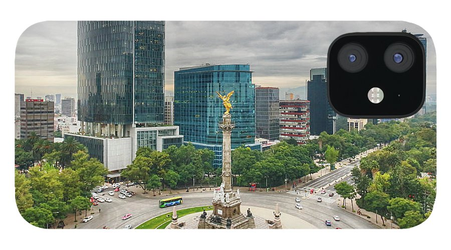 Mexico City IPhone 12 Case featuring the photograph The Angel Of Independence, Mexico City by Sergio Mendoza Hochmann