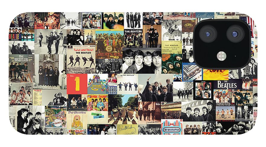 The Beatles IPhone 12 Case featuring the digital art The Beatles Collage by Zapista OU