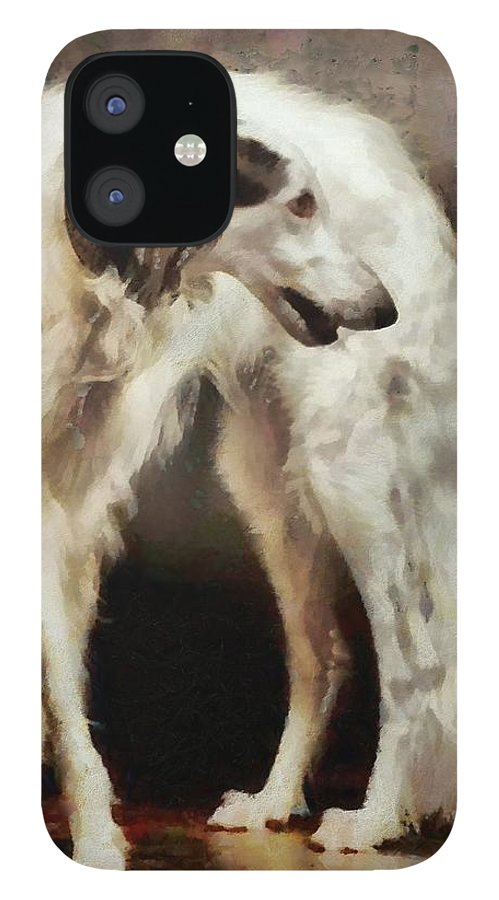Russian Wolfhound IPhone 12 Case featuring the painting The Borzoi Uturn by Janice MacLellan