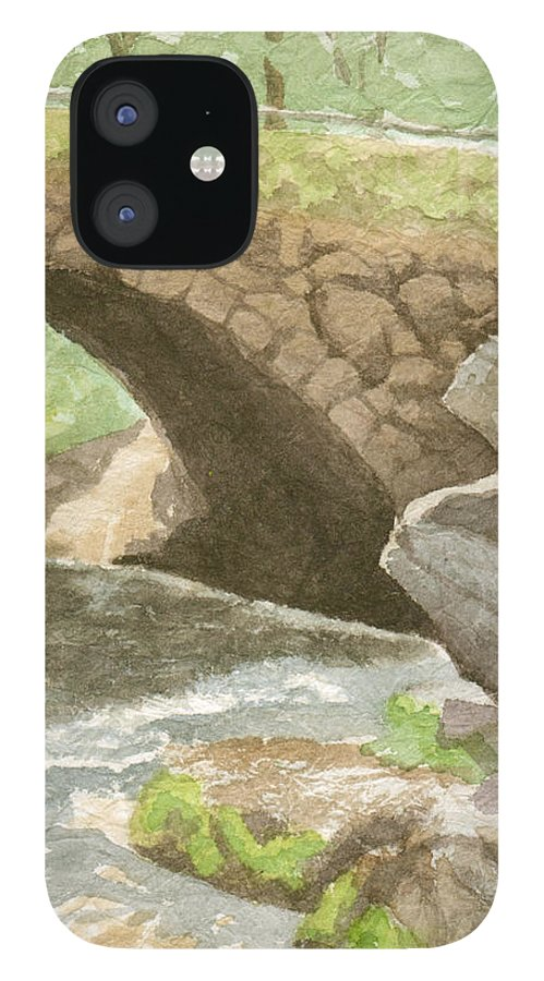 Water IPhone 12 Case featuring the painting The Bridge at Gleason Falls by Sharon E Allen