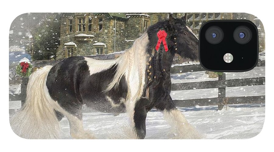 Christmas IPhone 12 Case featuring the mixed media The Christmas Pony by Fran J Scott