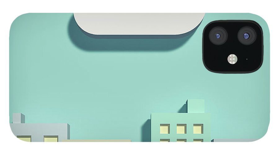 White Background IPhone 12 Case featuring the digital art The Cloud Network And Office Buildings by Yagi Studio
