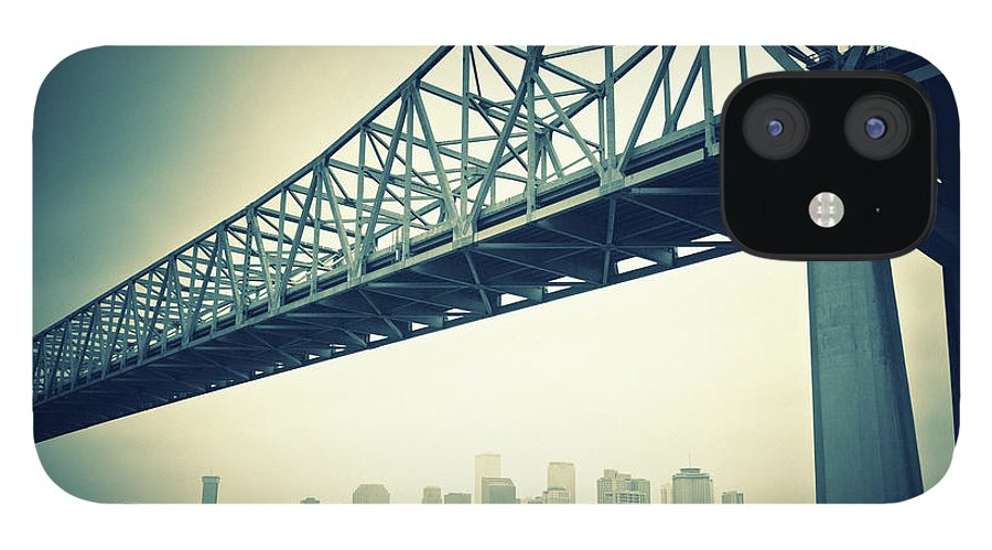 Desaturated IPhone 12 Case featuring the photograph The Crescent City Connection In New by Moreiso