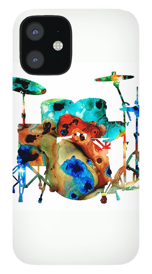 Drum IPhone 12 Case featuring the painting The Drums - Music Art By Sharon Cummings by Sharon Cummings