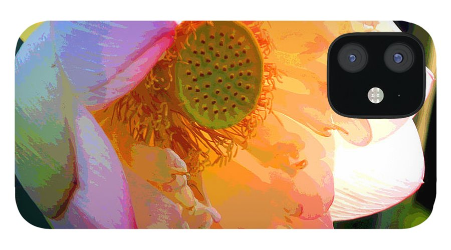 Lotus iPhone 12 Case featuring the painting The Glow of the Lotus by John Lautermilch